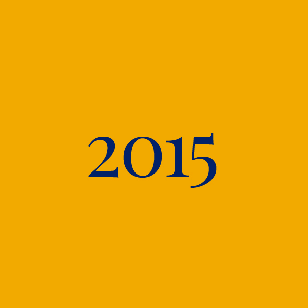 Link to 2015 page, navy text on yellow background
